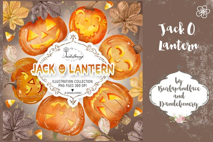 Thumbnail for Watercolor Jack O Lantern design
