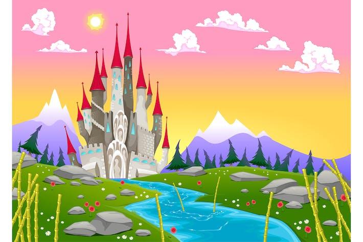 Fantasy Berglandschaft mit mittelalterlicher Burg