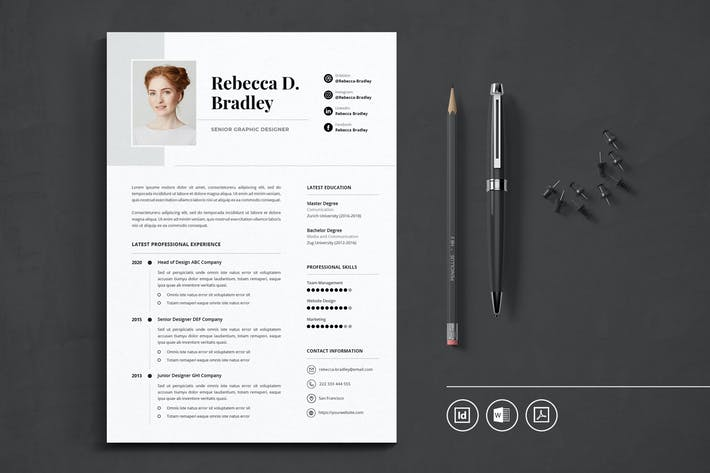Thumbnail for Professional CV Resume Indesign Template Vol.42