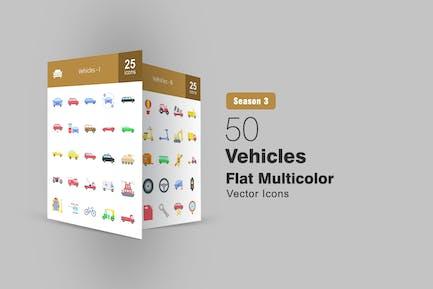 50 Fahrzeuge Flach Multicolor Icons