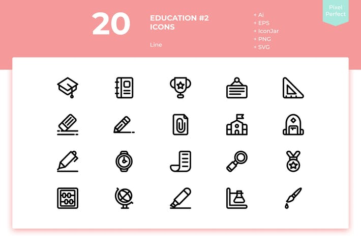 Thumbnail for 20 Education #2 Icons (Line)