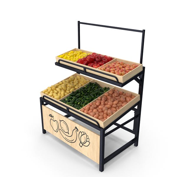 Wooden Display Rack With Fruits and Vegetables