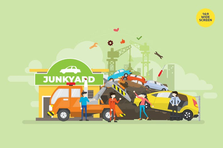 Thumbnail for Junkyard Recycle Vector Concept Illustration