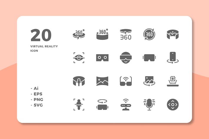Cover Image For 20 Virtual Reality Icons (Solid)