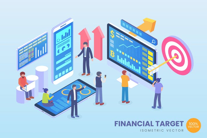 Thumbnail for Isometric Financial Target Vector Concept