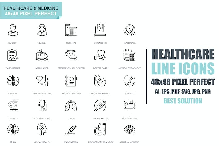 Thumbnail for Simple Set Healthcare and Medicine Line Icons