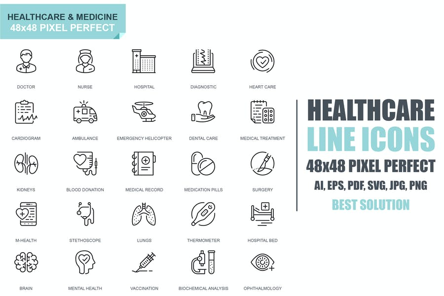 Simple Set Healthcare and Medicine Line Icons