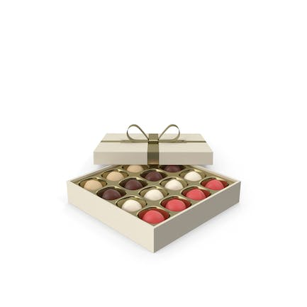 Truffles White Gift Box with Gold Ribbon