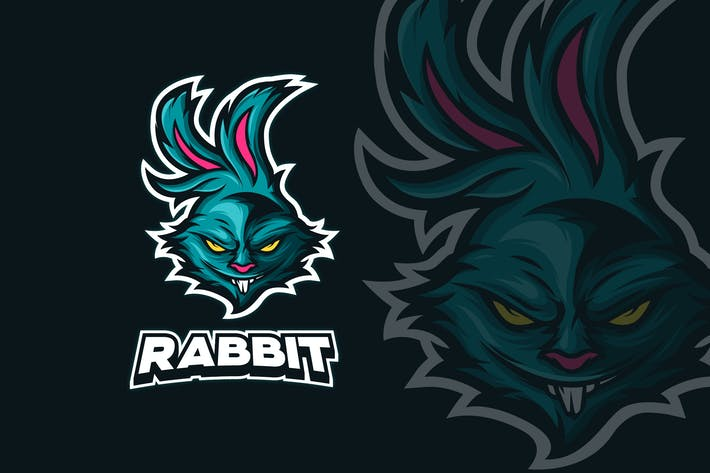 Thumbnail for ANGRY RABBIT MASCOT LOGO TEMPLATE