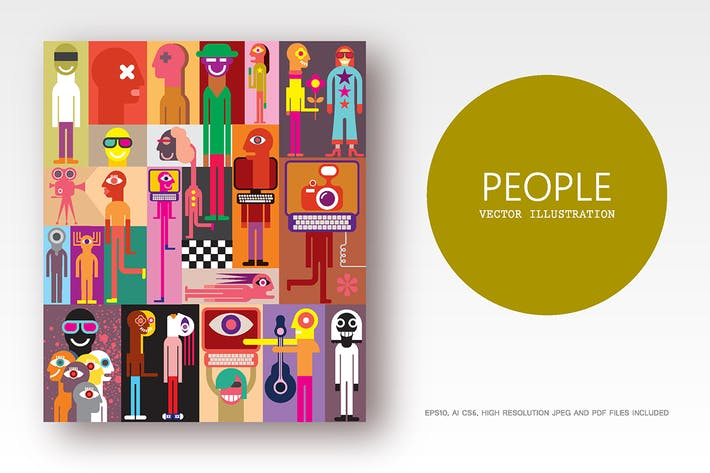 Thumbnail for Group of people flat style vector illustration