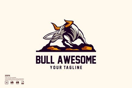 bull awesome logo design