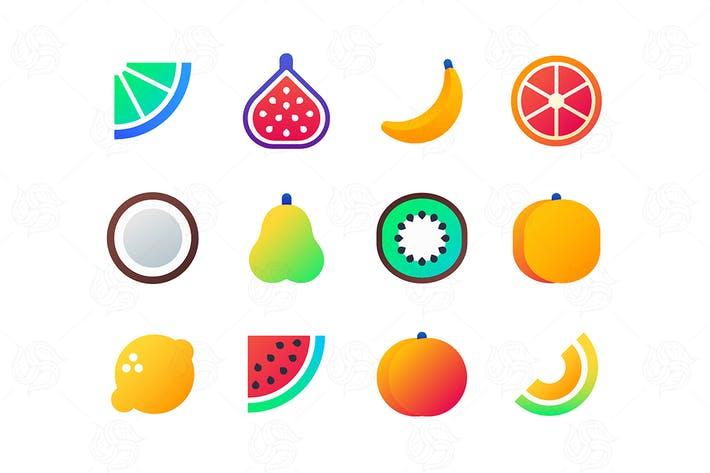 Thumbnail for Fruits - set of flat design style icons