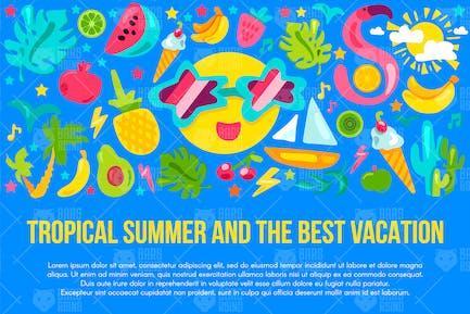 Banner para vacaciones de verano tropical