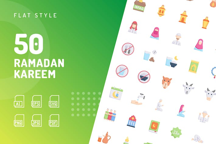 Thumbnail for Ramadan Kareem Flat Icons