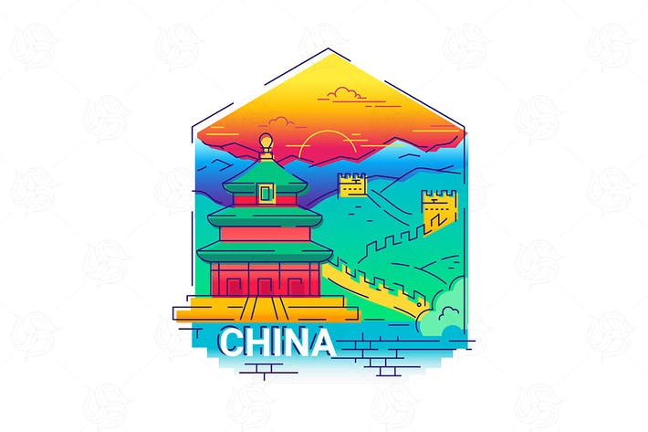 Cover Image For China - modern vector line travel illustration