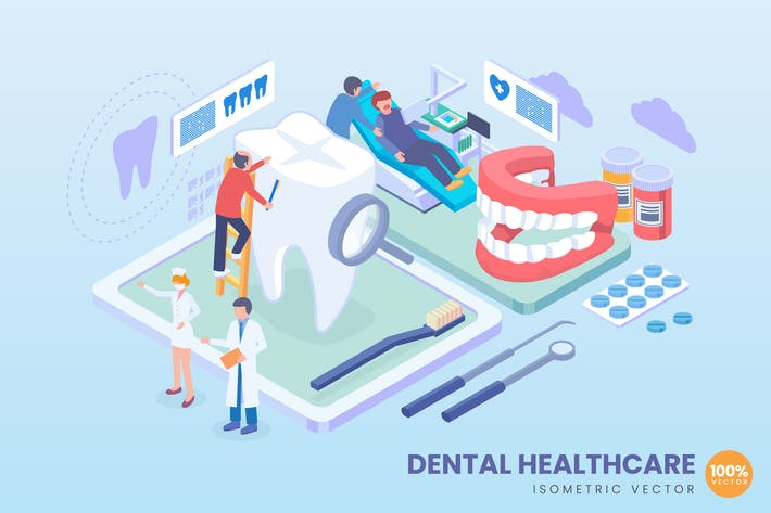 Thumbnail for Isometric Dental Healthcare Vector Concept