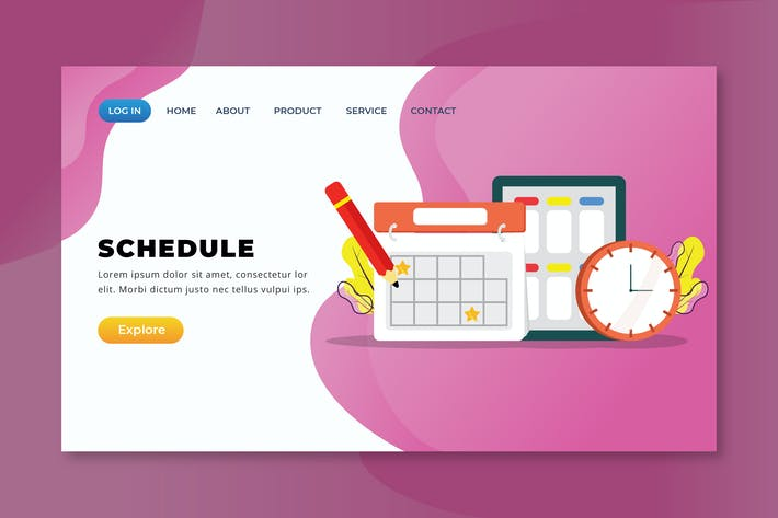 Thumbnail for Schedule - XD PSD AI Vector Landing Page