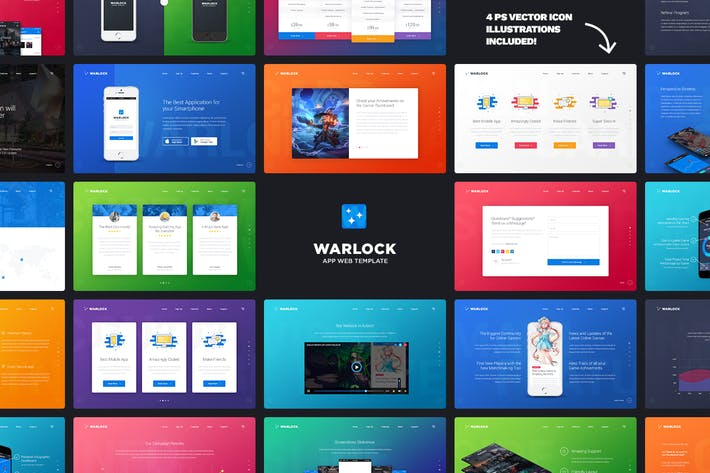 Thumbnail for Warlock App Landing PSD Template
