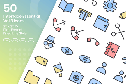50 Interface Essential Icons Vol 3 -Filled Line