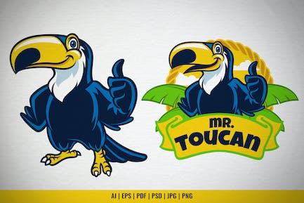 Happy Cartoon Toucan Bird Vector Set