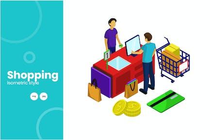 Cashier Payment Activity Isometric Illustration