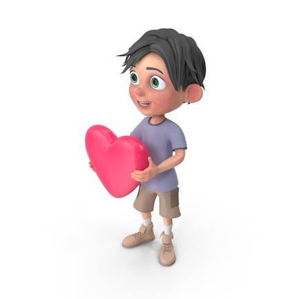Cartoon Junge Jack hält Herz
