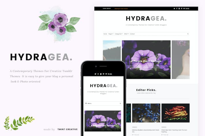 Thumbnail for Hydragea -Responsive Tumblr Tema