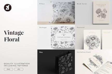 Floral vintage illustration elements and pattern