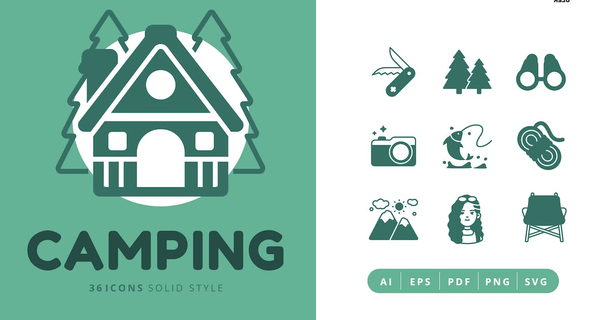 Download 36 Icons of Camping Solid Style by Victoruler