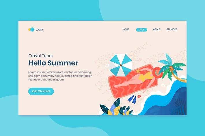 Thumbnail for Hello Summer landing page template