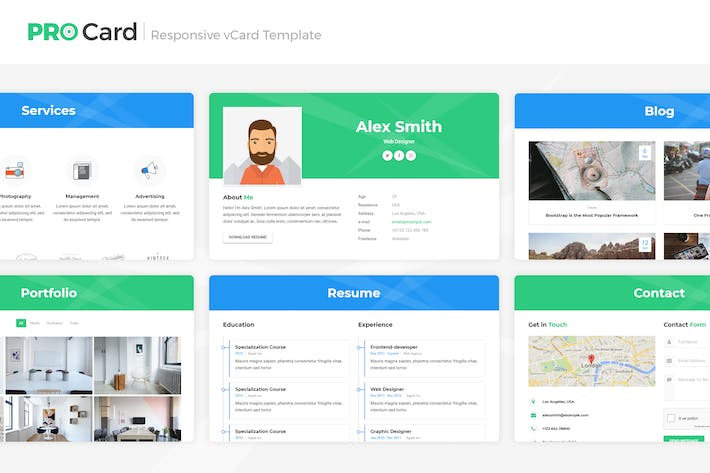 Pro Card Vcard Html Template By Lmpixels On Envato Elements