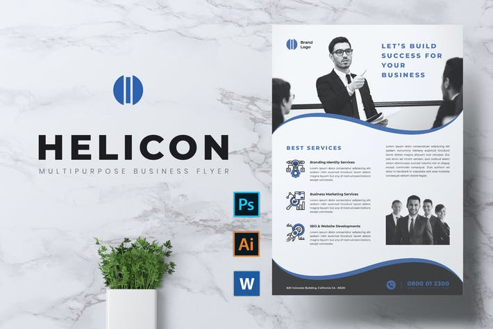 Cover Image For HELICON Professional Corporate Business Flyer