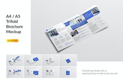 A4 / A5 Trifold Brochure Mockup
