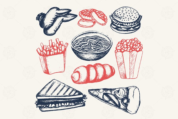Thumbnail for Fast food - hand drawn vintage illustration