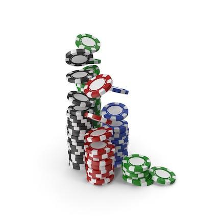 Стеки пустых фишек для казино