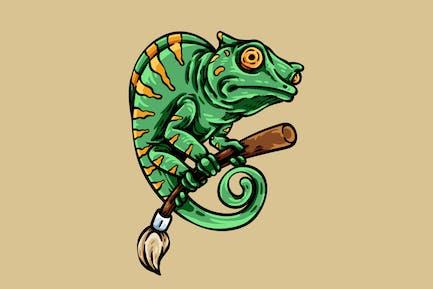 Chameleon Holding Brush