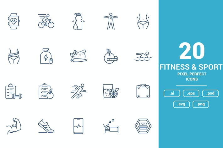 Thumbnail for Flat line icons design - Fitness and Sport