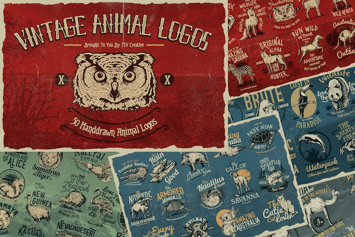 Thumbnail for 50 Vintage Animal Logo Badges