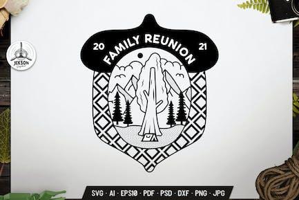 Family Reunion Camping Design Line Art Badge