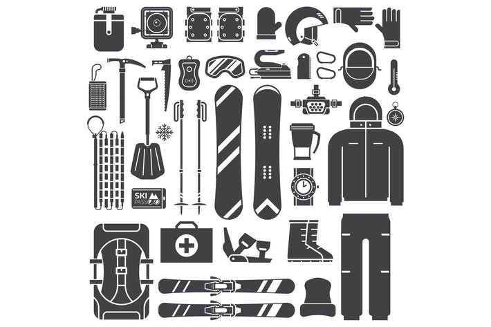 Thumbnail for Snowboard and Ski Outline Icons Set