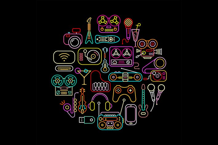 Cover Image For Neon colors electronic devices vector icon set