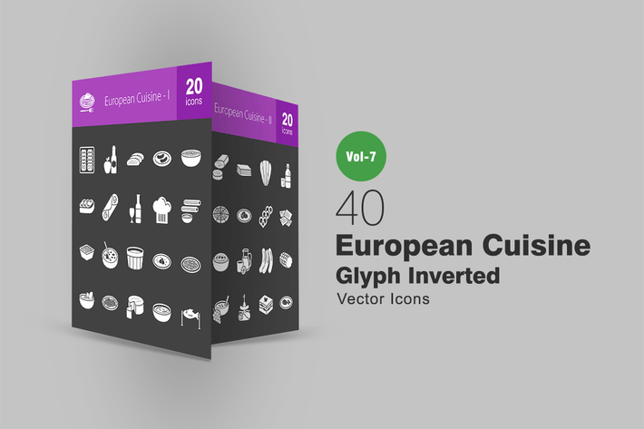 Thumbnail for 40 European Cuisine Glyph Inverted Icons