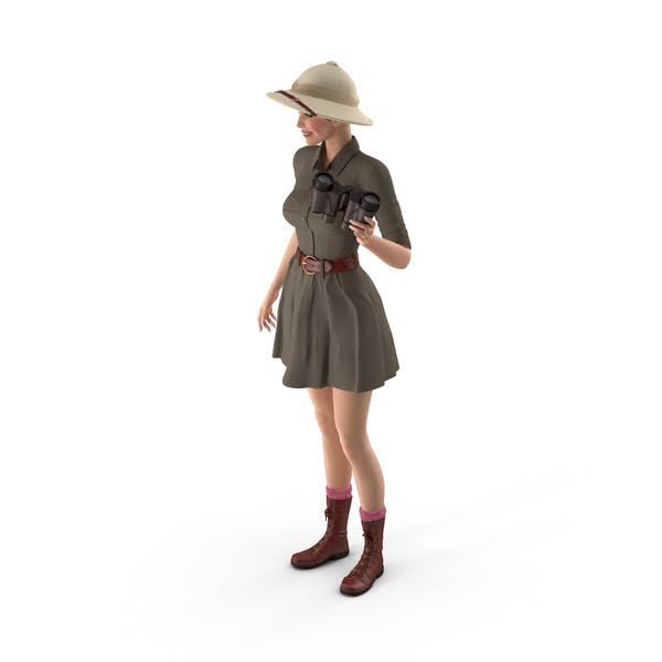Women in Safari Costume with Binocular