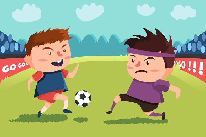 Thumbnail for Playing Football - Vector Illustration