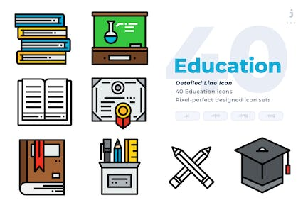 40 Education Icons - Detailed Line Icon