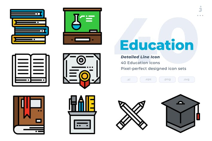 Thumbnail for 40 Education Icons - Detailed Line Icon