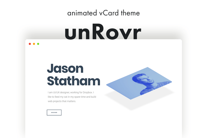 Thumbnail for UnrovR - Animierte vCard & Resume WordPress Thema