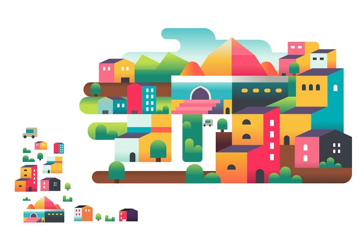 Thumbnail for Geometric colorful muslim city