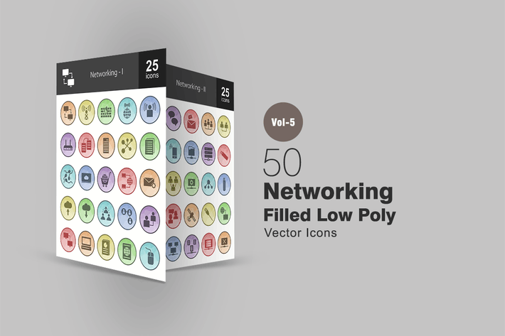 Thumbnail for 50 Networking Filled Low Poly Icons