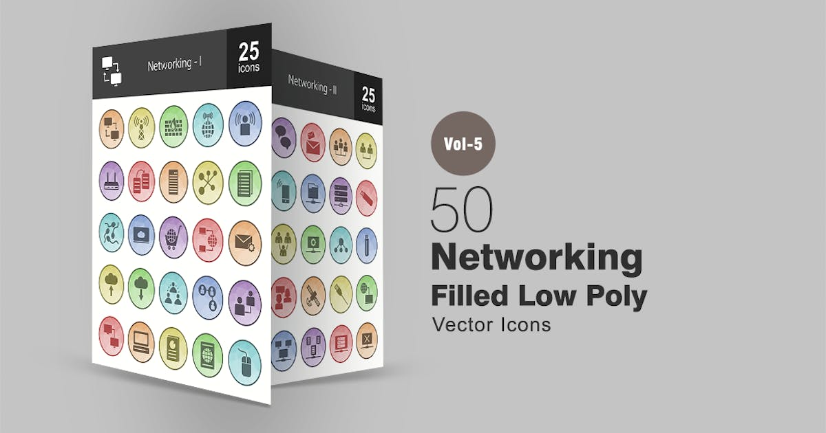 Download 50 Networking Filled Low Poly Icons by IconBunny
